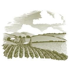 Woodcut Rural Farm House vector image vector image