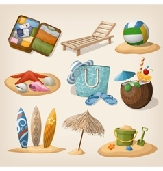 Beach vacation icon set vector image