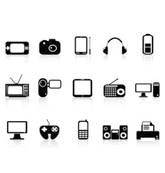 black electronic objects icons set vector image vector image