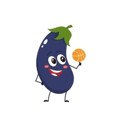 Cheerful smiling eggplant spinning a basketball on vector image