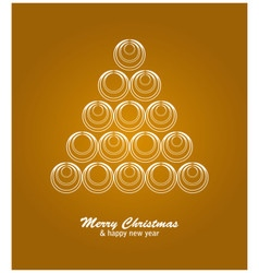 Christmas card with white tree and balls on golden vector image