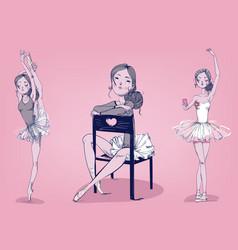 set with cartoon ballerina vector image