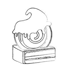 yummy sweet cake slide piece vector image