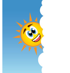 happy sun smiling behind a cloud vector image vector image