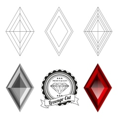 Set of lozenge cut jewel views vector image vector image