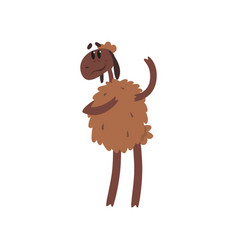 cute funny sheep character standing on two legs vector image vector image