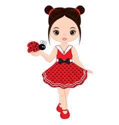 cute little girl with ladybug vector image vector image