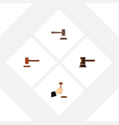 flat icon hammer set of law defense government vector image vector image