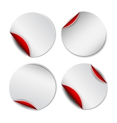 Set of white round promotional stickers with red vector image