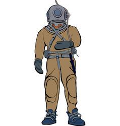 vintage deep sea diver suit vector image vector image