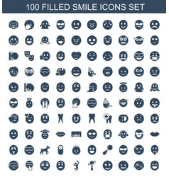 100 smile icons vector