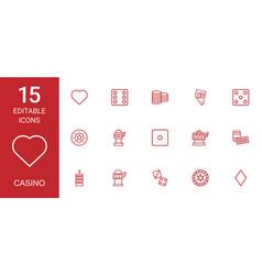 15 casino icons vector image