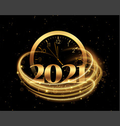 2021 happy new year with clock and golden theme vector image