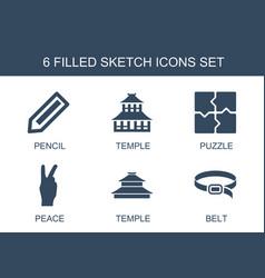 6 sketch icons vector