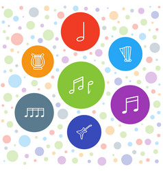 7 melody icons vector image