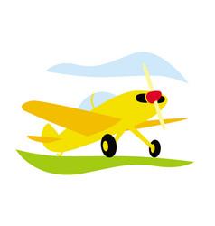Aerobatics small sports plane on airfield vector