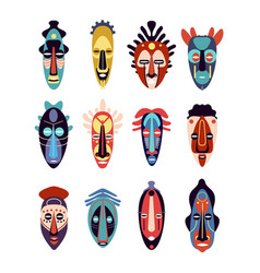 african mask colorful ethnic tribal ritual masks vector image