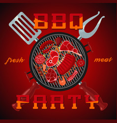 bbq party banner with barbeque vector image