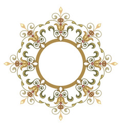 Beautiful luxury round frame ornamental border vector