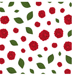 Beautiful roses and leafs pattern vector