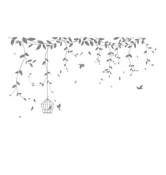 Beautiful tree branch with birds silhouette vector
