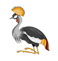 black crowned crane bird icon vector image
