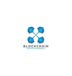 blockchain logo design template vector image