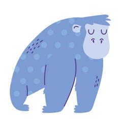 blue gorilla animal cartoon doodle color vector image