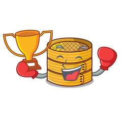 Boxing winner wooden steamed food container on vector