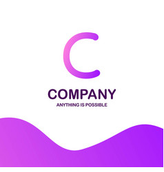 c company logo design with purple theme vector image