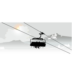 Cable way in the ski mountain resort vector