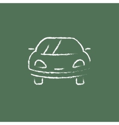 Car icon drawn in chalk vector image
