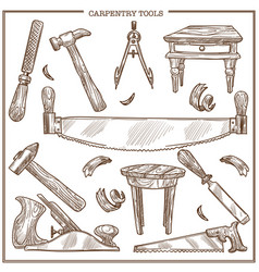 Carpentry tools sketch icons set for vector