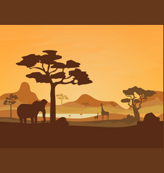 Cartoon african savannah card poster vector