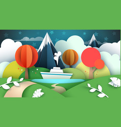 Cartoon paper landscape lake ship mountain vector
