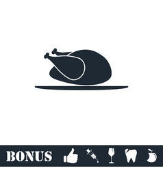 Chicken icon flat vector
