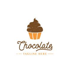 Chocolate cupcake logo design vector