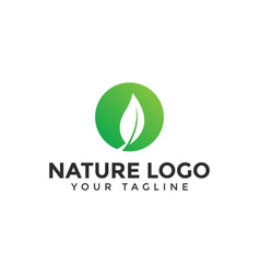 circle leaf logo design template vector image