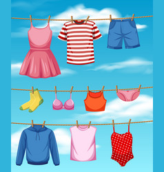 cloth hanging on sky background vector image
