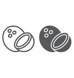 coconut line and glyph icon fruit and coco vector image