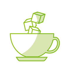 coffee cup iwith sugar cubes vector image
