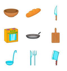 Cook room icons set cartoon style vector