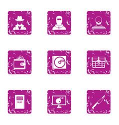 Custody icons set grunge style vector