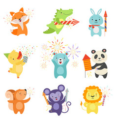 Cute animals with party poppers set lovely vector