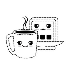 delicious coffee cup with slice bread kawaii vector image