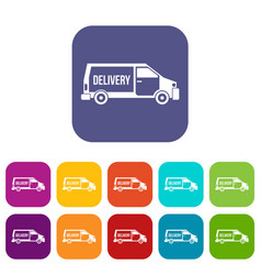 Delivery truck icons set vector