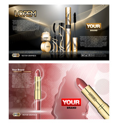 Digital red and black skin care lipstick vector