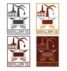 Distillery company with copper whiskey still and vector