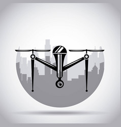 Drone on the city background with camera mechanism vector