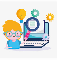 Education online little boy with magnifier vector